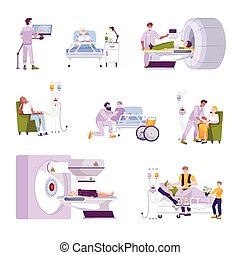 Oncology patients during mri scan radiotherapy chemotherapy kids in children cancer ward flat icons set vector illustration