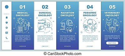 Oncology onboarding vector template. Surgical and radiation cancer treatment. Medical and veterinary oncology. Responsive mobile website with icons. Webpage walkthrough step screens. RGB color concept