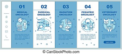 Oncology onboarding vector template. Surgical and radiation cancer treatment. Responsive mobile website with icons. Medical and veterinary oncology. Webpage walkthrough step screens. RGB color concept