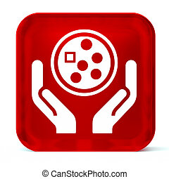 Oncology - Glass button icon with white health care sign or...