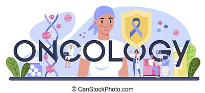 Oncology typographic header. Cancer disease diagnostic and treatment. Oncology chemotherapy, biopsy, tumor removal surgery. Isolated flat vector illustration