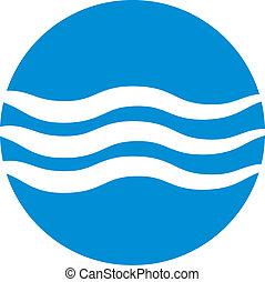 onda, água, ícone, abstratos, ícone, vetorial, símbolo