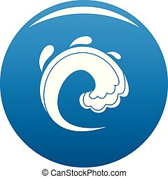 onda, água, tsunami, ícone, azul, vetorial