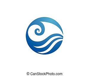 onda, agua, logotipo, plantilla