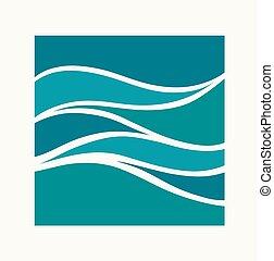 onda, aqua, logotipo, design., icon., acqua, astratto, quadrato