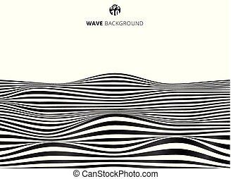onda, astratto, linee, zebrato, modello, ondulato, nero,...