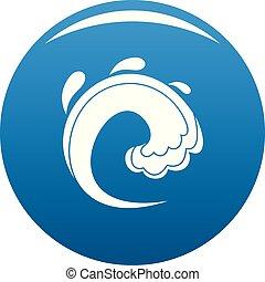 onda azul, água, tsunami, vetorial, ícone