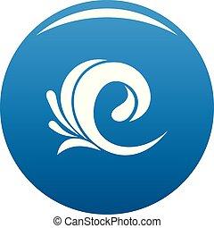 onda azul, tsunami, vetorial, ícone
