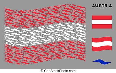 onda, bandeira acenando, forma, colagem, austríaco, itens