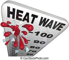 onda calor, temperaturas, ligado, termômetro