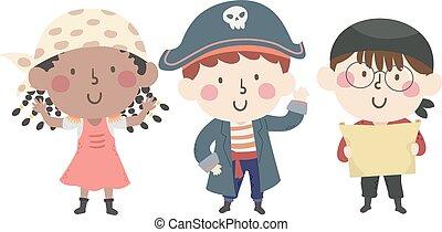 onda, capitão, crianças, mapa tesouro, ilustração, pirata