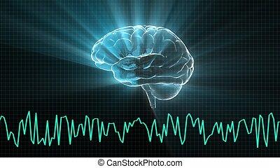 onda cervello, cristallo, grafico