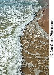 onda, de, a, mar, ligado, a, praia arenosa