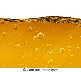 onda, de, un, amarillo, líquido, con, aire, burbujas,...
