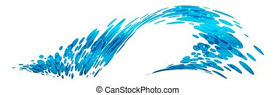 onda, desenho, stylized, composição