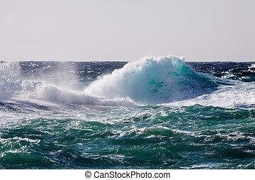 onda, durante, mar, tempestade