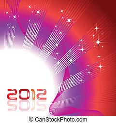 onda, fundo, ilustração, para, ano novo, 2012, em, brilhante, color.