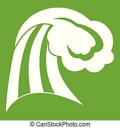 onda grande, verde, icono