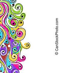 onda, mano, dibujado, patrón, para, su, diseño, resumen, plano de fondo