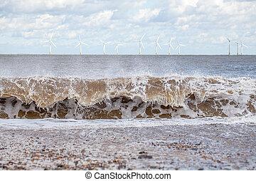 onda, poder, e, força, de, nature., energia renovável, e, sustentável, resources., onda, frente, offshore, vento, farm.