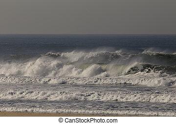 onda, quebrar, mar
