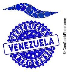 onda, selo, forma, venezuela, colagem, ícone, angústia