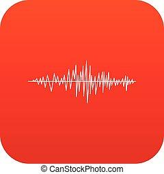 onda sonora, digital, vermelho, ícone
