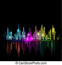 onda sonora, luminoso, fundo, cityscape, ou