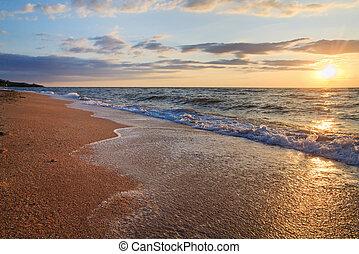 onda, tramonto, surf, mare