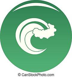 onda, vector, verde, tormenta, icono