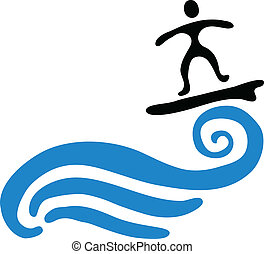 onda, vetorial, ilustração, surfista