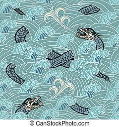 ondas, asiático, seamless, dragão