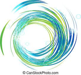 ondas azules, con, luces brillantes, logotipo