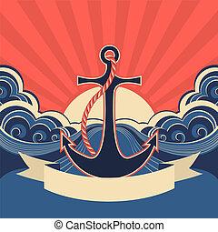 ondas azules, etiqueta, mar, náutico, ancla