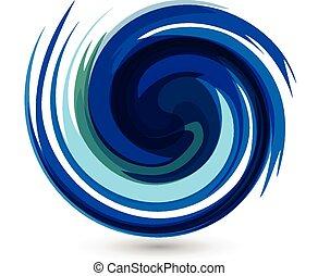 ondas azules, salpicadura, agua, vector, logotipo