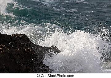 ondas, bata, contra, pedras