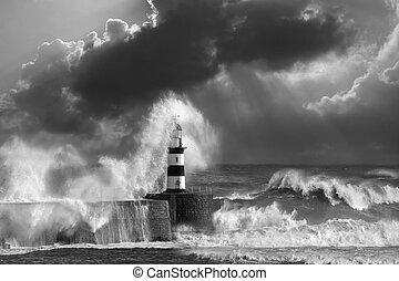 ondas, bata, sobre, seaham, farol
