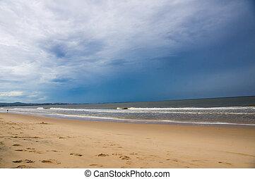 ondas, em, a, costa, em, dia ventoso