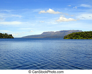 ondas, en, lago, tikitapu, (blue, lake), rotorua, nueva...