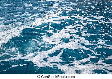 ondas, espuma, navio, mar, cruzeiro