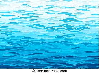 ondas, fundo, azul