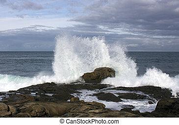 ondas, ligado, a, costa, com, força