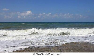 ondas, ligado, a, mar, superfície