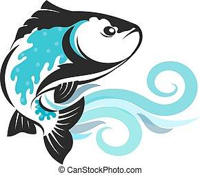 ondas, mostrado silhueta, peixe azul