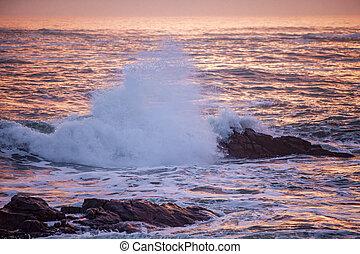 ondas, oceânicos, pôr do sol