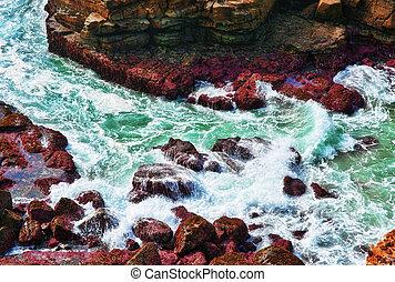 ondas, oceânicos, pedras