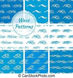 ondas oceano, seamless, padrão, fundos
