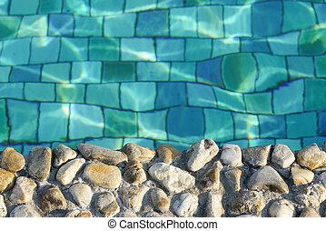 ondas, piscina, ondulação, wimming, fluxo, fundo