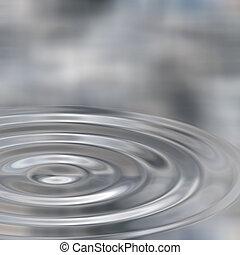 ondas, plata, líquido