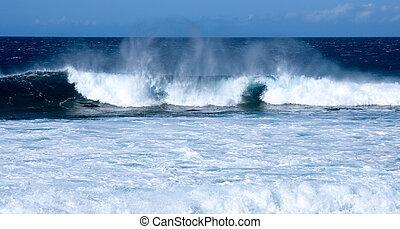 ondas, praia, bata